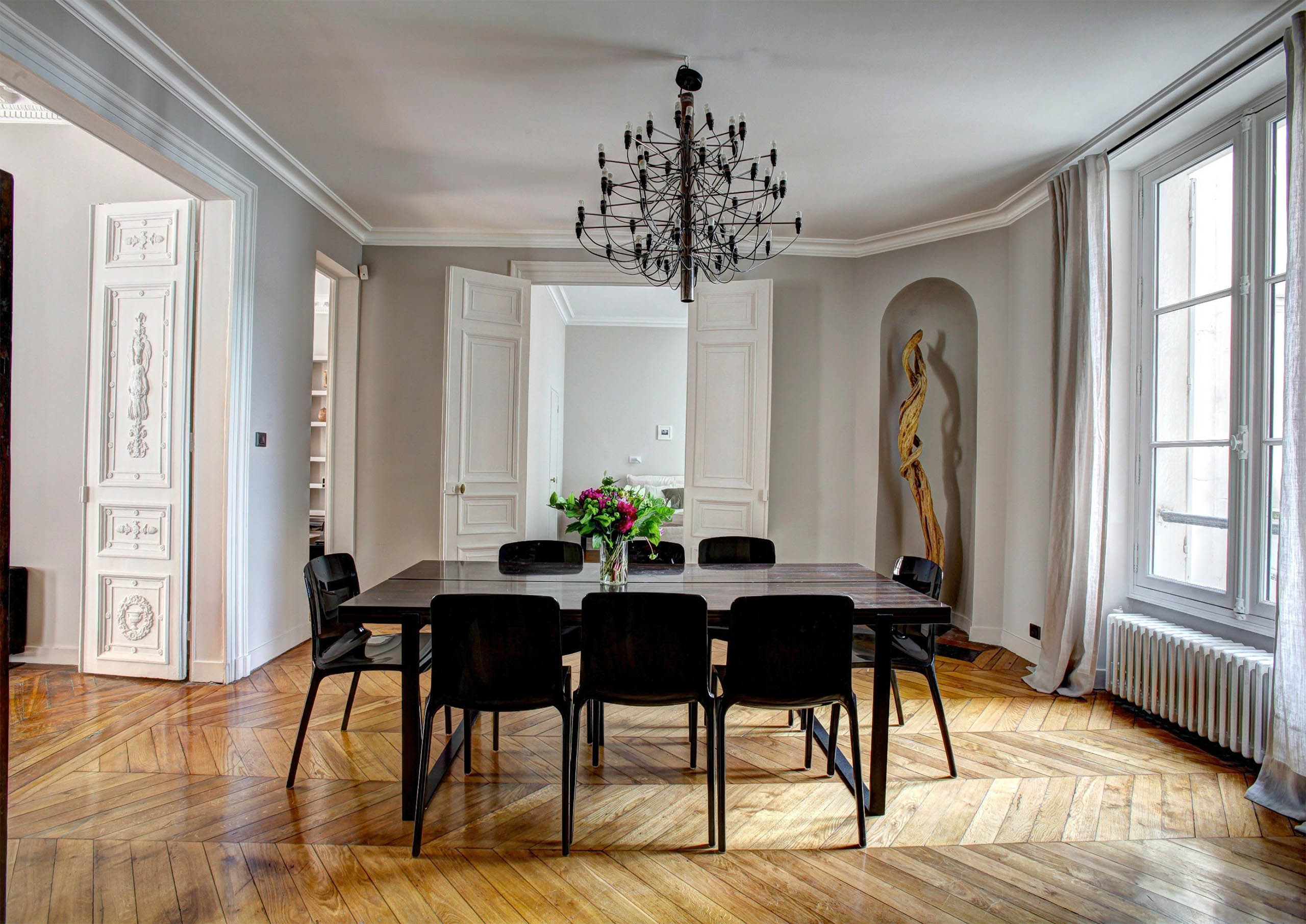 Beautiful Dining Room with Hardwood Floors and Crown Molding In Historic Ghent in Norfolk